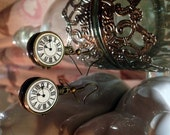 Victorian time traveler pocketwatch dangle earrings steampunk