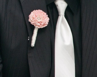 Chic Satin Wrapped Pink Sola Flower Boutonniere
