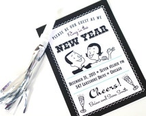 Retro NYE New Years Eve Printable Invite - Mad Men