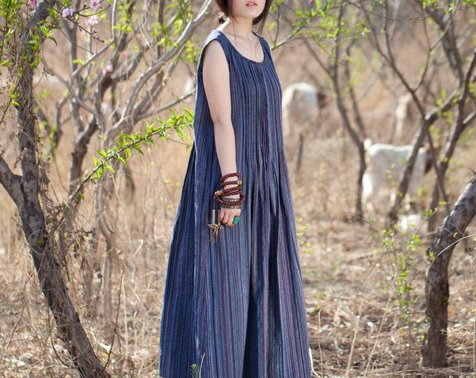 Women long dress - Sleeveless Dress - Round Neck - Pleated Dress/Decorative pleat - Summer dress - Linen dress - Made to order