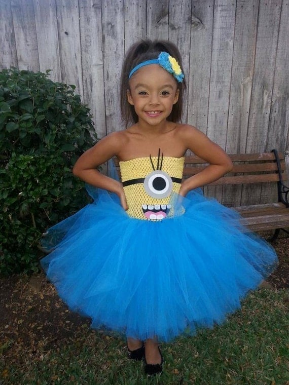 Items similar to minion inspired tutu dress perfect for for Cool halloween costumes for kids girls