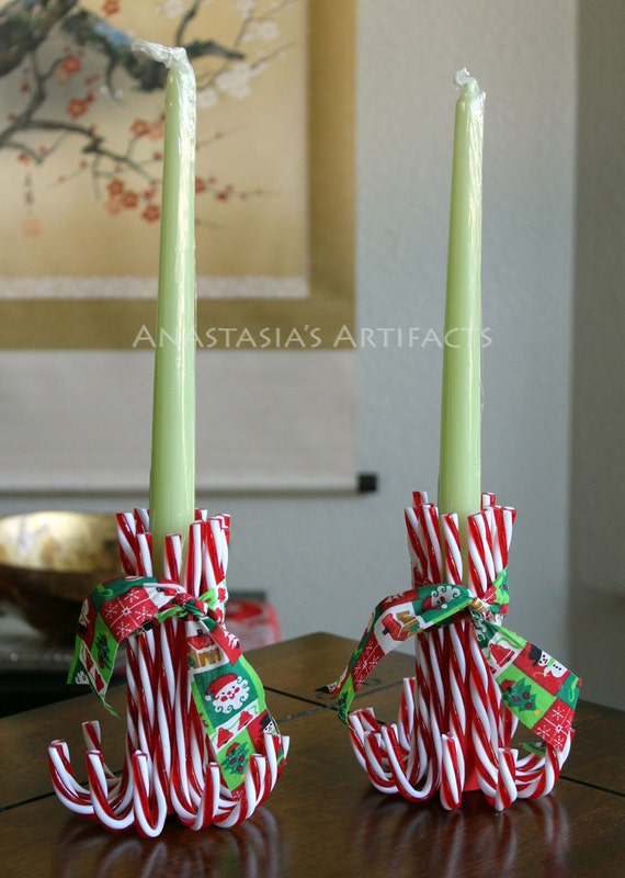Pair reusable candy cane candle holders vintage christmas for How to make christmas candle holders