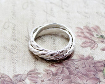 Sterling Silver Russian Wedding Ring - Intertwined Ring