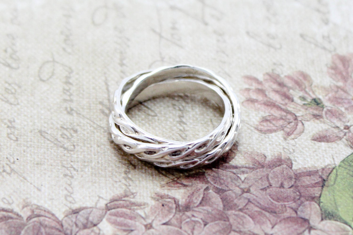 sterling silver russian wedding ring intertwined ring