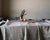 Rough, homespun stonewashed natural linen tablecloth
