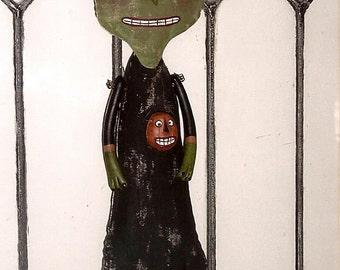 Green Witch Primitive Folk Art Doll Pattern / 16 inch soft cloth doll