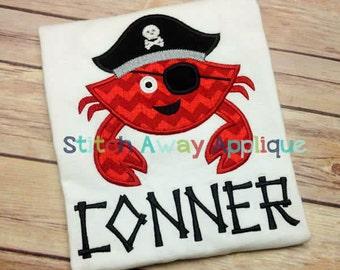 Pirate Crab Summer Machine Applique Design
