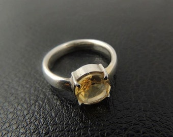 Citrine ring, Citrine engagement ring, Yellow gemstone ring, Solitaire ring sterling silver