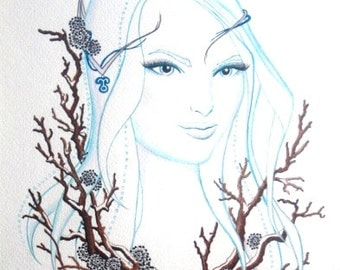 Winter Nymph Original Watercolor Painting, Other-Worldly Woodland Spirit Fantasy Art