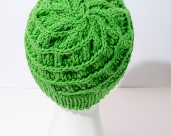 Hand Knit Bright Green Spiral Knit Hat