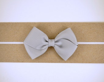 Grey Grosgrain Bow Headband - Baby Headband - Toddler Headband - Adult Headband