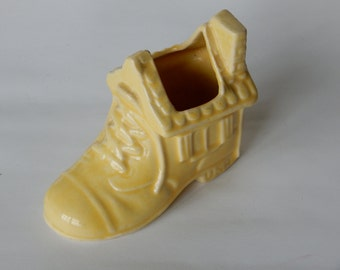 Art Pottery Yellow Shoe Planter - Marked USA - Baby Nursery Planter - Yellow Nursery - Succulent Planter - Old Woman Who Lived in a Shoe!