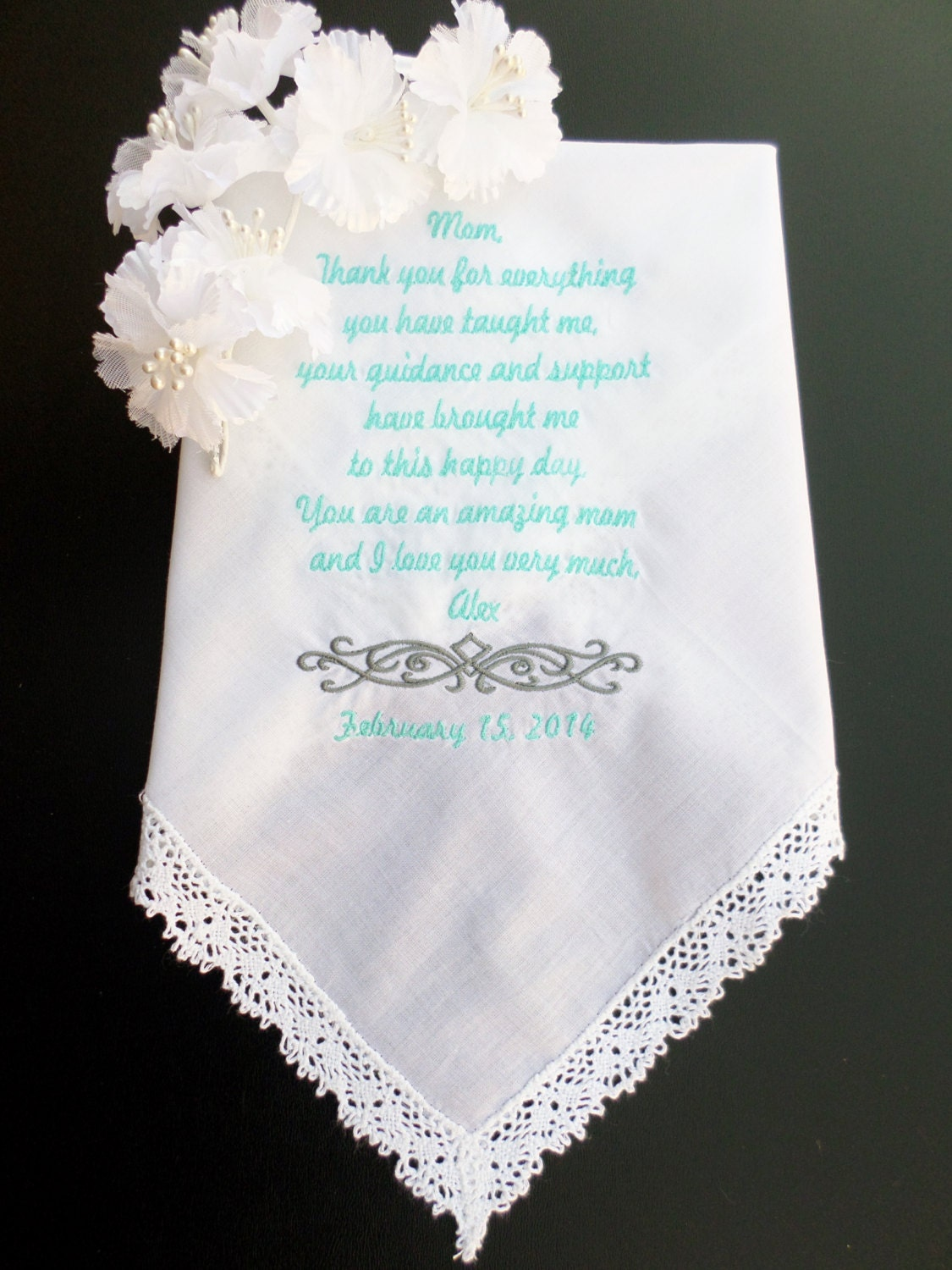 Personalized Wedding Handkerchief For Mother By AuntKimsEmbroidery