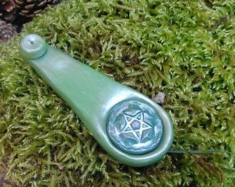 Incense Burner, Green Clay Joss Stick Holder, Ash catcher pentagram tool