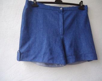 Vintage Shorts Women's Shorts  High Waisted Shorts Women Blue Retro Shorts