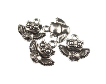 Small Owl Charms,  QTY: 6 Charms ft. a Small Owl - See Photos For Other Finish Options