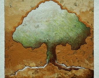 Original art on canvas, tree of life painting, green tree silhouette, wall art, 6 x 6 inches acrylic painting within an 11 x 14 inches mount