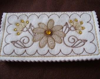 Embroidered Checkbook Cover