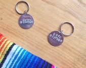 Best Bitches Hand Stamped Circle Keychain, Set of 2 or 3