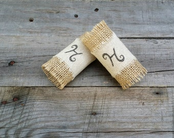 Personalized Burlap and Fabric Napkin Rings, Rustic Wedding Table Decor, Rustic Decor, Burlap Wedding, Set of 4