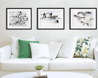 Bird print set of 3 - 8x10 Watercolor Paintings, Bird Watercolors, Geese, Flock of Birds, Seagulls, Flying Bird, Bird Print Set, Print Set