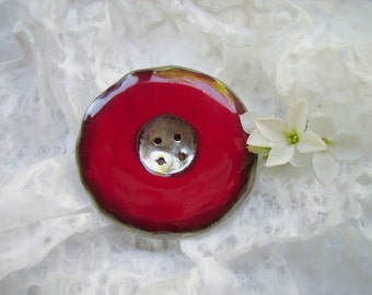 Brooch button, red brooch, ceramic brooch