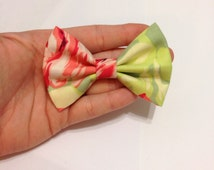 Coral and Pink Rose Floral Fabric Hair Bow on Alligator Clip - 3.25 Inch Wide