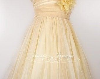 Flower Girl Dress, Ivory girls dress, mesh dress, special occasion dress, flower girl dresses (ets0145)