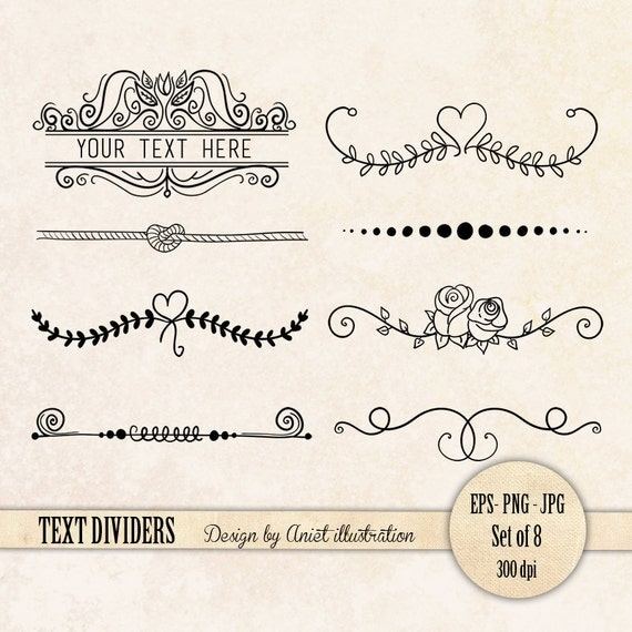 Single Line Text Art : Text dividers divider clip art page by anietillustration