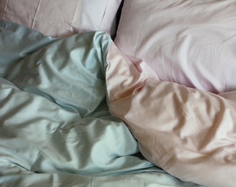 Full / Double / Queen Duvet Cover Blue and Pink Cotton Satin Fabric with Euro sham pillowcases Express Shipping