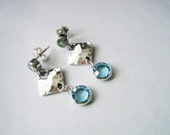 Blue topaz sterling silver earrings Topaz dangle earrings November birthstone Gemstone earrings Swarovski earrings Bridal jewelry