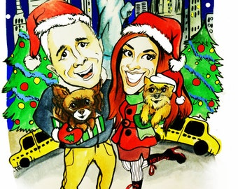 Christmas Caricature Greeting Card. Personal cartoon gift hand drawn from photos of your family