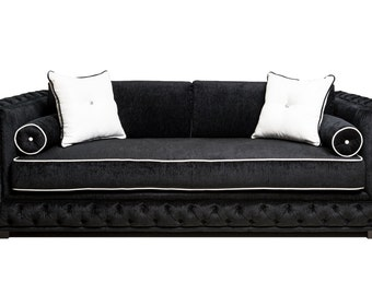 Modern Sofa contemporary Modern sofa couch.  Unique custom - Button diamond arms & back piping   High Quality All made here in the USA!