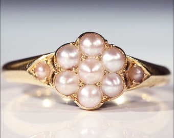 English Victorian Pearl Cluster Ring in 18k Gold