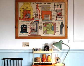 Vintage - Large stunning French School Poster -  double-sided - 1950/1960 -  The Heating