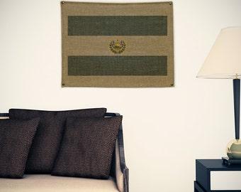 El Salvador Burlap Flag (w/ Free Shipping!)