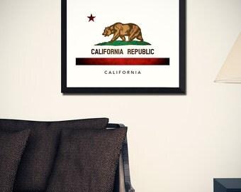California Flag Art Print (w/ Free Shipping!)