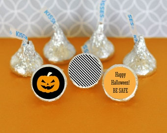 Halloween Candy Kiss Stickers - Halloween Wedding Candy Labels - Personalized Halloween Treat Stickers (EB4003CHLWN) - 108 PRINTED labels