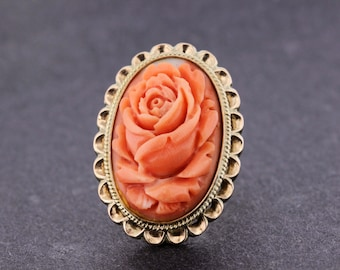 14K Gold Ring with Carved Coral Rose