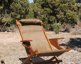 "Set of 2 Alder Wood Sling Chairs in Brown Outdoor Fabric ""Ravenswood"" with Arm rests, Headrest and Handle for Beach Camping Deck Pool"