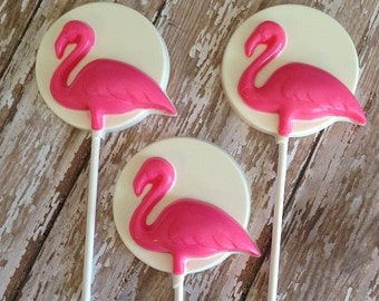 12 Chocolate Flamingo Lollipops Beach Party Luau