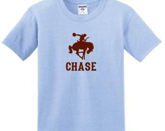Bucking Horse Personalized T-shirt, western bronc rider tee with name cowboy