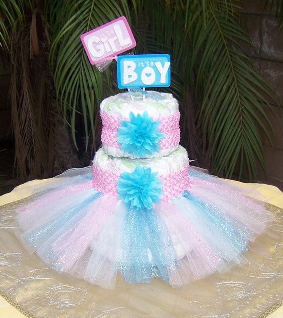 Items similar to Tutu Diaper Cake Kit - GENDER REVEAL: Baby Shower Decoration, Diaper Cake Set ...
