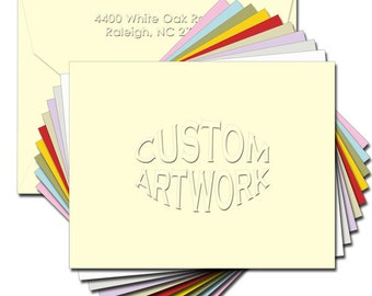 Blind Embossed Note Cards Any Graphic Font Or Logo