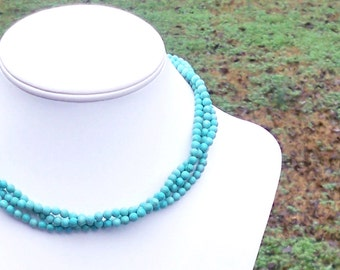 Triple Strand Turquoise Necklace Dainty Turquoise Necklace Twisted Turquoise Necklace Three Strand Turquoise Necklace Short 5mm Round Beads