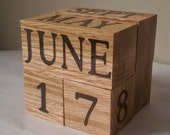 OAK perpetual wood calendar unique gift for him decorative decor for office cubicle classroom desk accessory made in Ohio