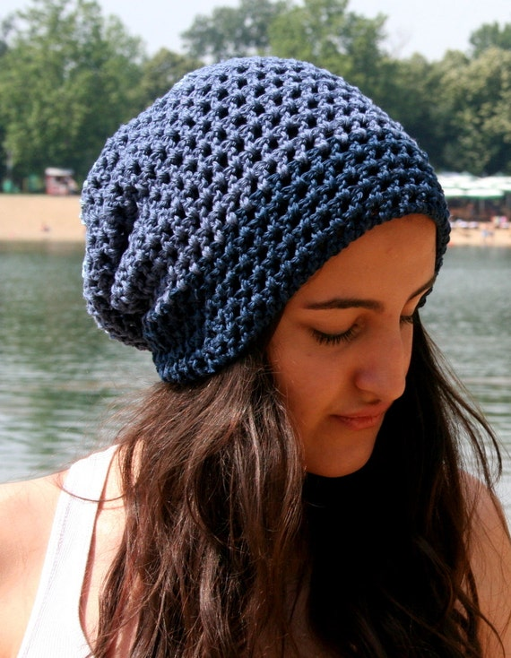 Blue hat Summer crochet hat Cotton beanie Crochet summer