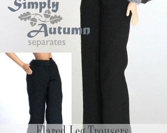 "Sewing pattern for 11 1/2"" doll (Barbie): Flared Leg Trousers"
