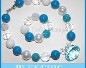 SALE SALE Blue Chic Girls Chunky Bubblegum Necklace  & Bracelet Set blue white photo prop party jewlery