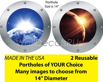 Space Decals, Outer Space Wall Decals, Outer Space Stickers, Porthole Window, Space Wall Murals,Stars Wall Decor,Planets, Cheap Decals, S5S6